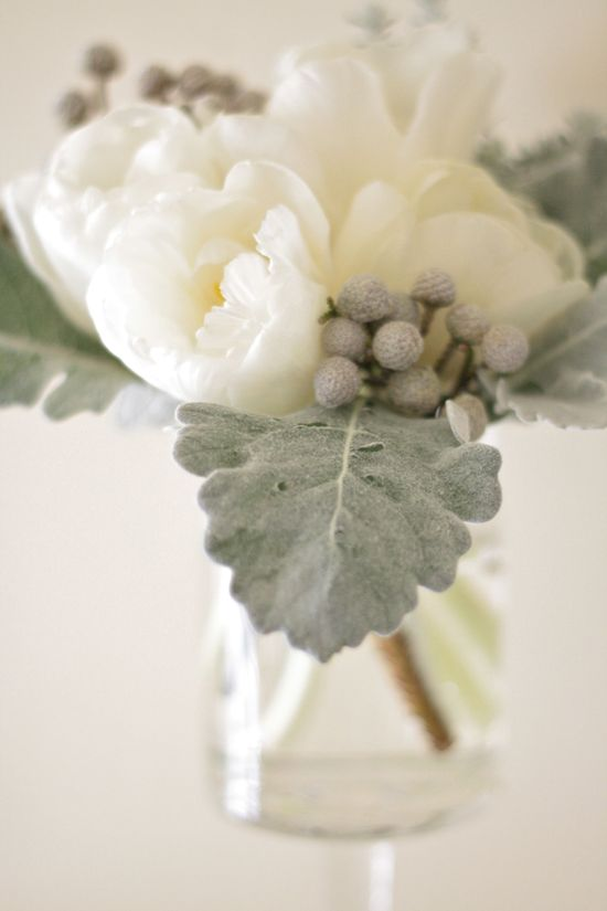 Small dusty miller and tulip arrangement in a pedestal vase by Sebesta Design
