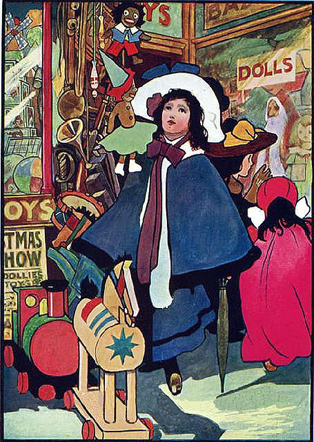 Outside the Toy Store--Lovely Vintage Charles Robinson Illustration
