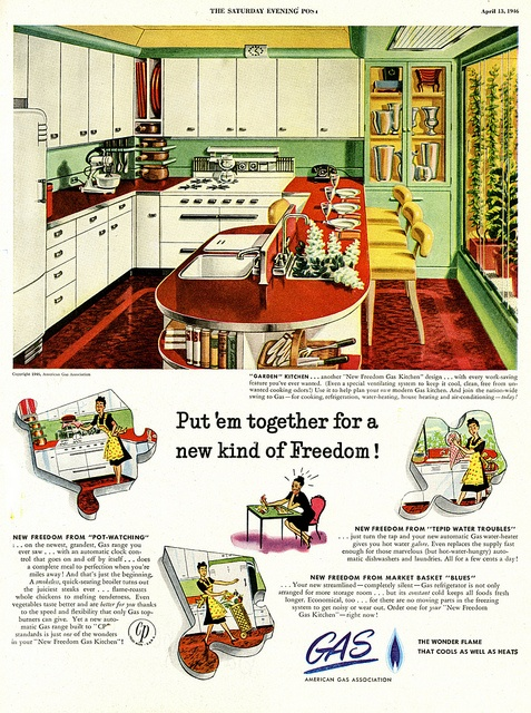 Great wrap around island/counter shape (I really like the fact that the sink was built into the back of it). #vintage #1940s #kitchen #ad