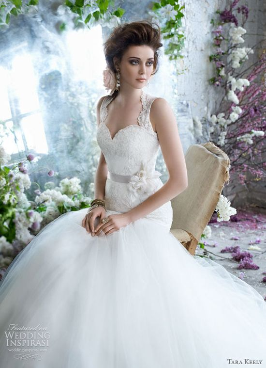tara keely bridal fall 2012 lace ball gown keyhole back tulle skirt 2258
