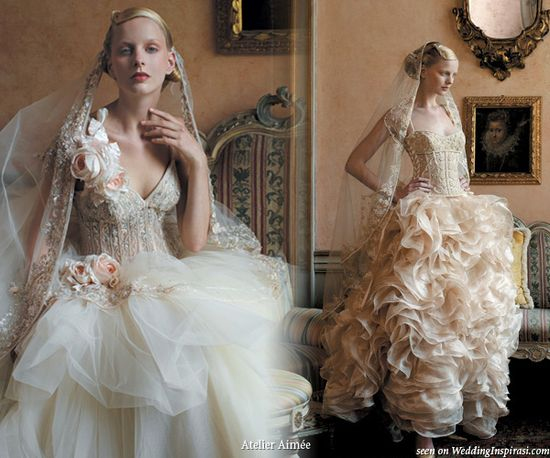 Antique lace color and off white ruffle strapless wedding dresses from Atelier Aimee