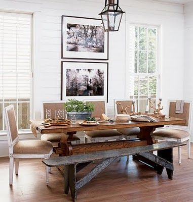country dining room, like pictures between windows