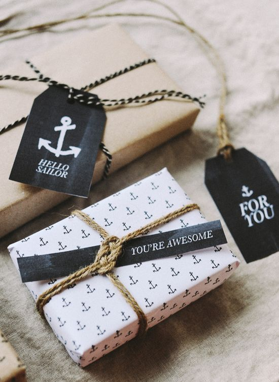Free printable anchor wrapping paper & gift tags by Hey Look (very cute idea!)