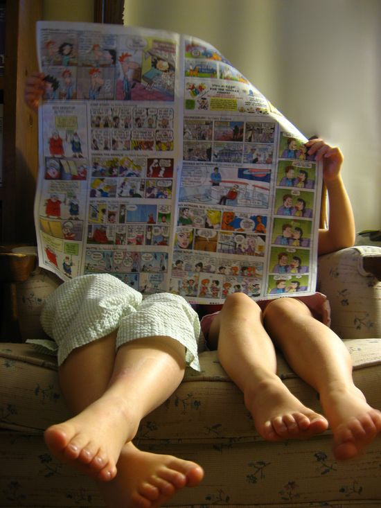 readin' the comics.