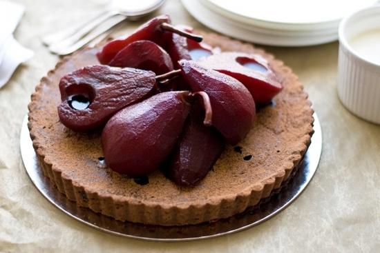 Chocolate Tart w/ Red Wine Pears