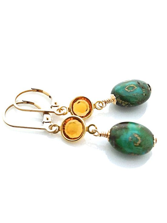 Green and Gold Earrings with gold filled lever backs.  Pretty for Fall.  #fallfashion #earrings #jeweltones by #UrbanClink, $27.50