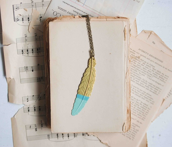 Mint Green Painted Golden FEATHER Pendant