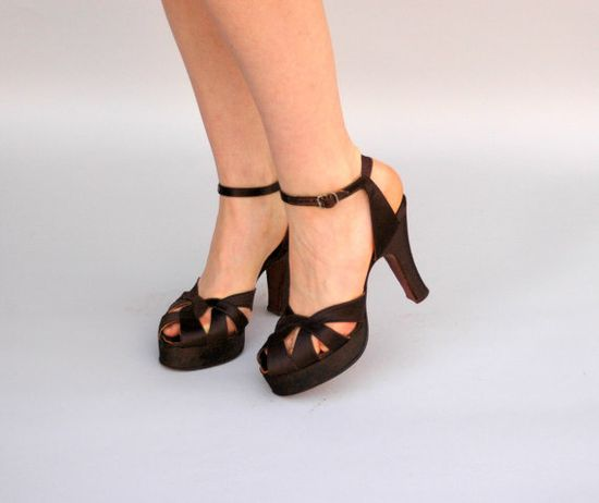 Vintage 1940s Shoes  Coco Satine  Chocolate by WildHoneyPieVintage, $120.00