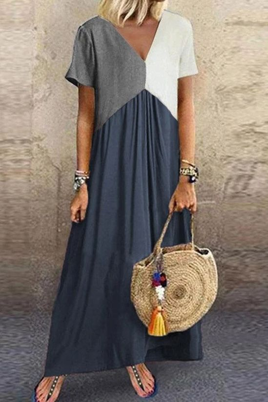 Color Block Paneled V-neck Casual Maxi Dress - shopingnova