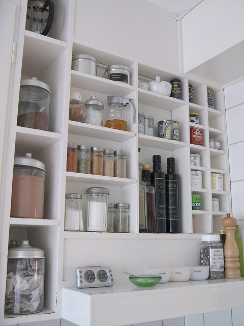 DIY cubby shelves - great use of vertical space in a small kitchen