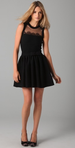 LBD ~ RED Valentino Sleeveless Knit Dress with Lace