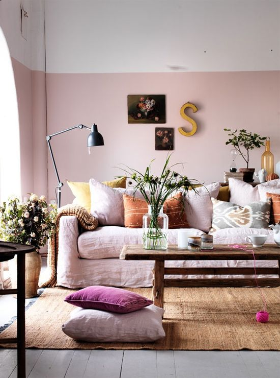 Color block (half painted) walls in blush pink and other colors