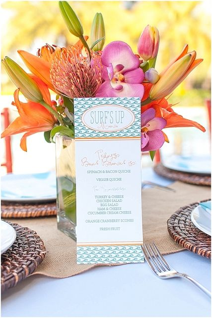 Menu card at a Beach baby shower!   See more party ideas at CatchMyParty.com!  #partyideas  #babyshower
