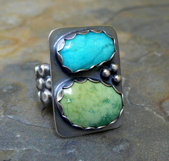 Amazonite and Turquoise Ring