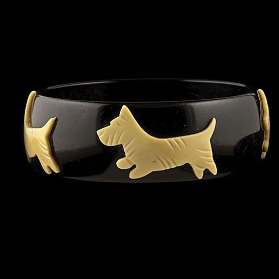 "A wonderfully cute vintage ""Scottie Dog"" Bakelite Bangle. #vintage #jewelry #Bakelite #dogs #bracelet"