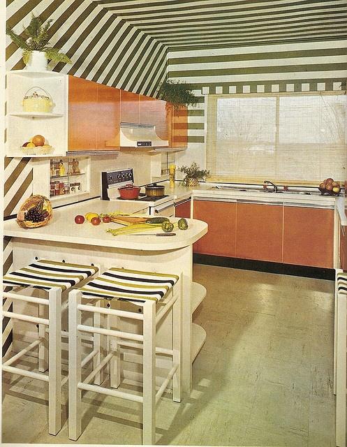 Orange and Green Kitchen