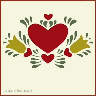 Dutch Heart 2 Stencil Folk Art The Artful Stencil   eBay