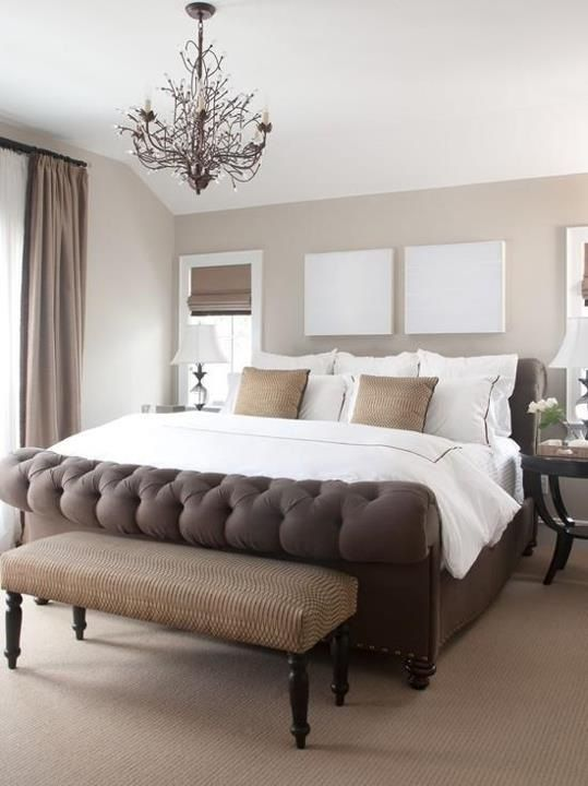 ...He likes luxurious bedding with tailored details, upholstered benches and headboards..