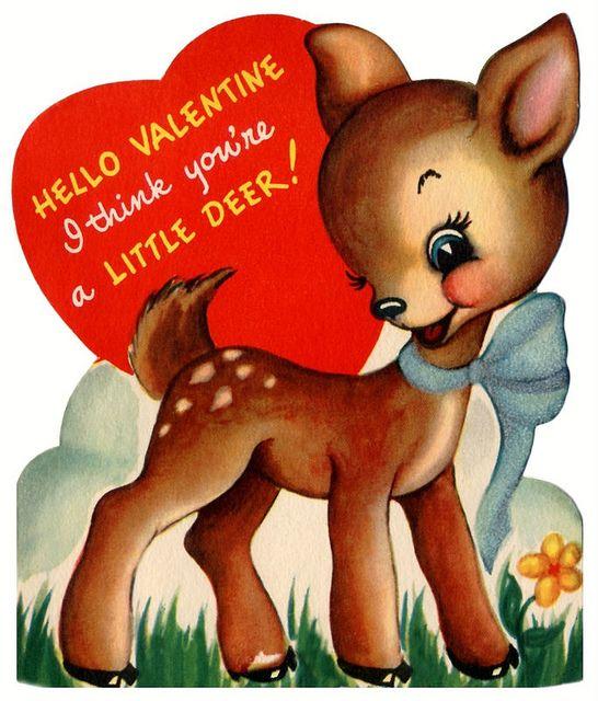 vintage Valentine deer