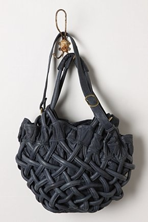 Handbasket Bag: With a zip closure and 5 inner pockets  in blue leather. Gorgeous.