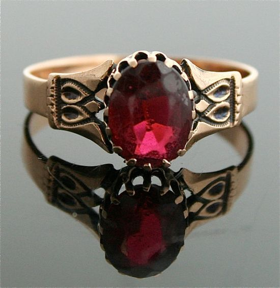 Victorian Garnet Ring  14k Yellow Gold and by SITFineJewelry, $795.00