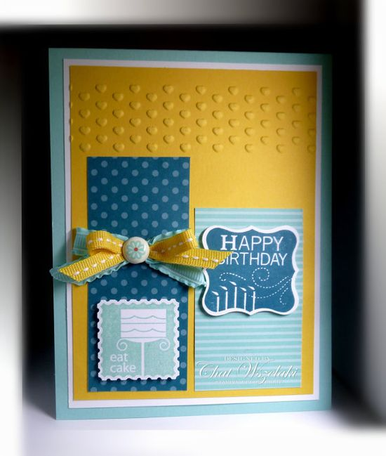 handmade birthday card by Nite Stamper on Etsy ... blue , yellow and white ... like the design and colors ... Stampin' Up!