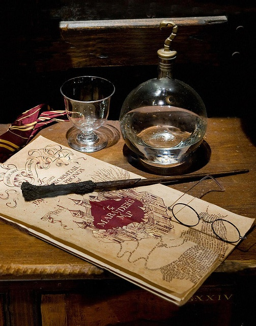 Harry Potter's Wand & Glasses, and the Marauders Map, via Flickr.