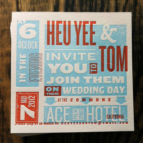 smokeproof Letterpress Invitation: Heu Yee + Tom
