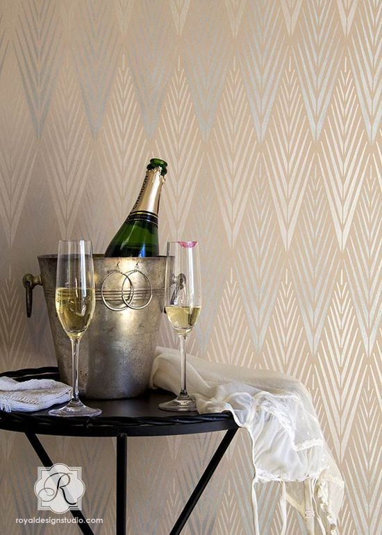 Silver and Pearl on Pink. Raven+Lily Stencil Collection - African Plumes Wall and Furniture Stencil