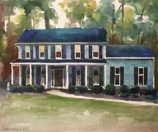 Custom Original Watercolor Painting of home 10'' x 12'', Example of House portrait, Made to Order. The path to Family Home.. $55.00, via Etsy.