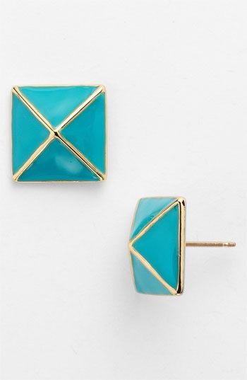 gold and turquoise kate spade new york locked in small stud earrings