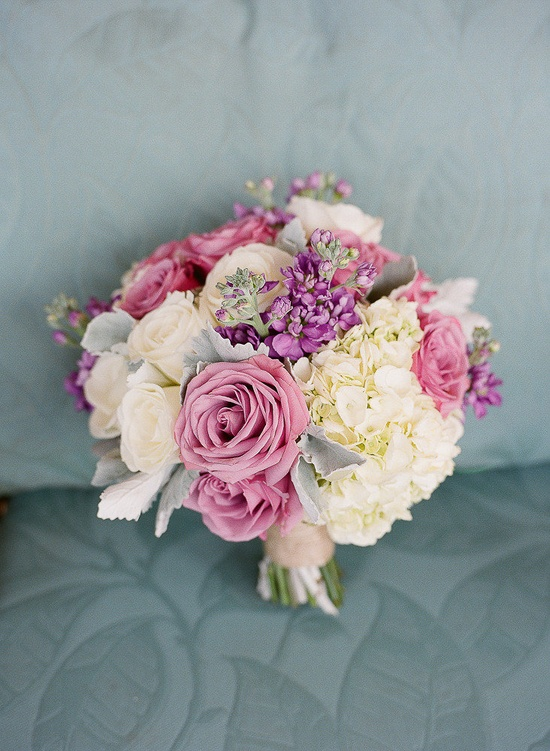 Creamy whites and purples ~ gorgeous bouquet!