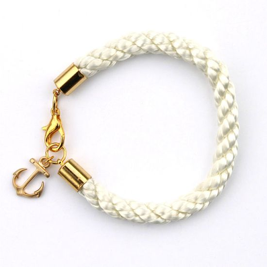 omyheartkate- Nautical White Rope Bracelet with Gold Anchor: $18.00