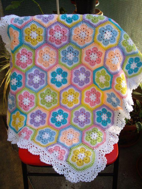 Love the edging on this hexagon shape blanket for sale by Galya Kireva on Etsy.