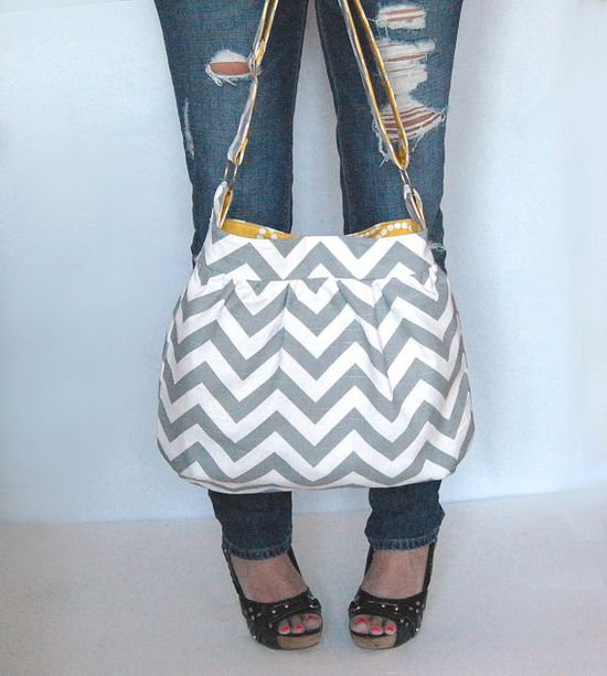 Chevron zig zag handbag Large gathered hobo purse with by FromKtoZ, $65.00