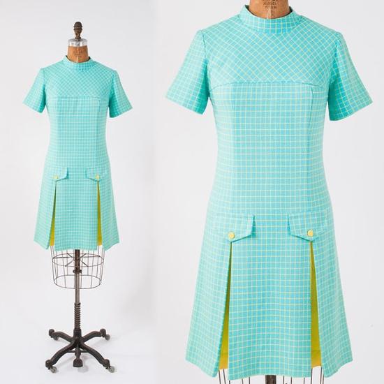 1960s Aqua Linen Dress  Yellow Checkered Dress  by missfarfalla, $58.00