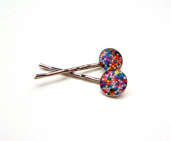 Cupcake sprinkles candy bobby pins  cute by sparklecityjewelry, $8.00