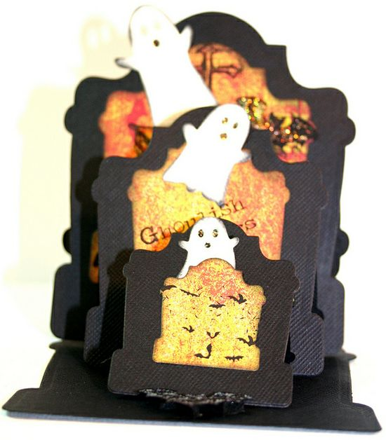 handmade Halloween card  ... easel card with three cascading levels ... tombstones and ghosts on black background ... cute little ghosts from Memory Box die ... fabulous folds