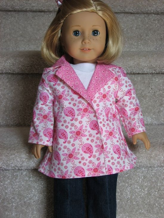 Springtime Paisley in PINK Coat for American Girl / 18 by momawake, $11.00