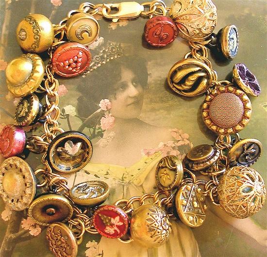 antique button charm bracelet.