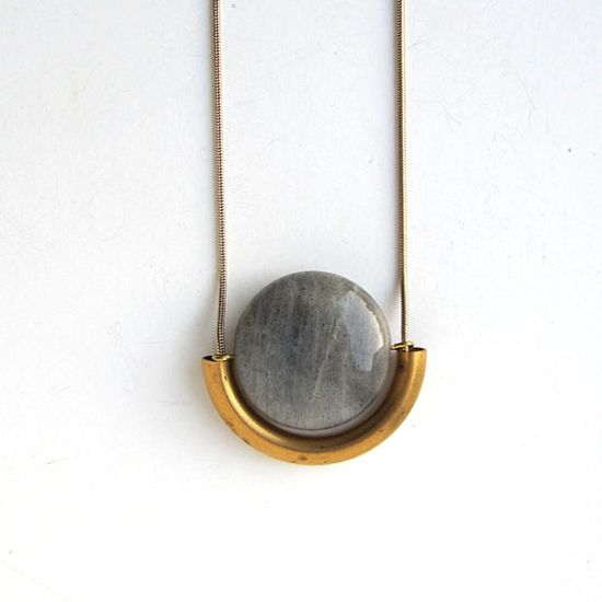 "Simple. ""Labradorite and brass necklace. Labradorite is said to build perseverance, and boost psychic abilities."" - Sarah #SarahEdmonds #Banquet"