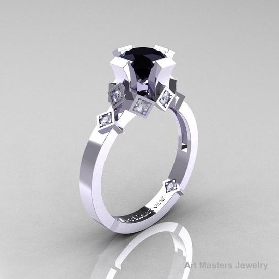 Modern Bridal 14K White Gold 1.0 Black and White Diamond Solitaire Ring R240-14KWGDBD. $899.00, via Etsy.