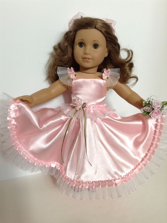 18inch American Girl Doll Clothes  Pink Satin by HFDollBoutique, $25.00