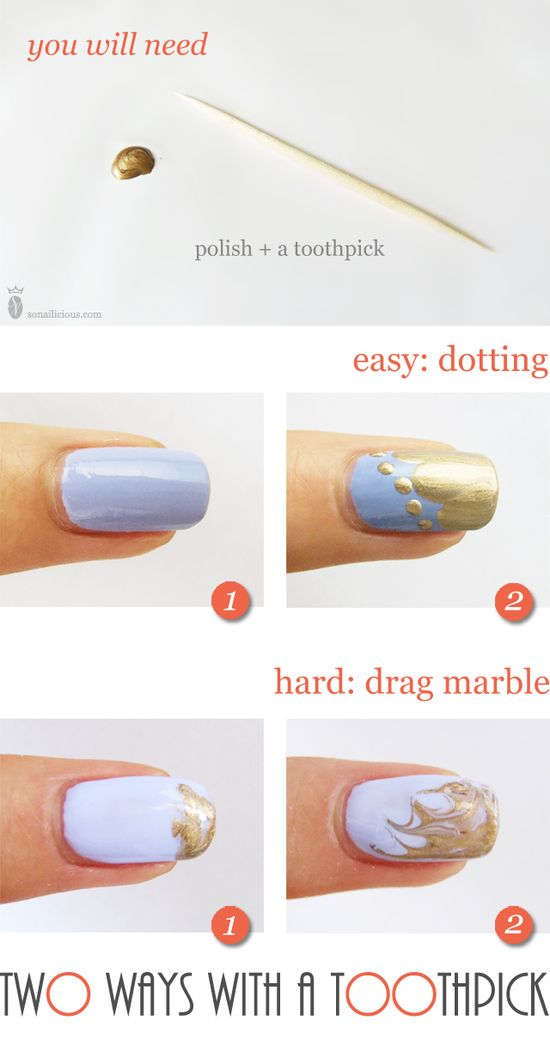 Pinned by www.SimpleNailArt... TUTORIALS: NAIL ART DESIGN IDEAS - So Nailicious - Toothpick Nail Art Tutorial