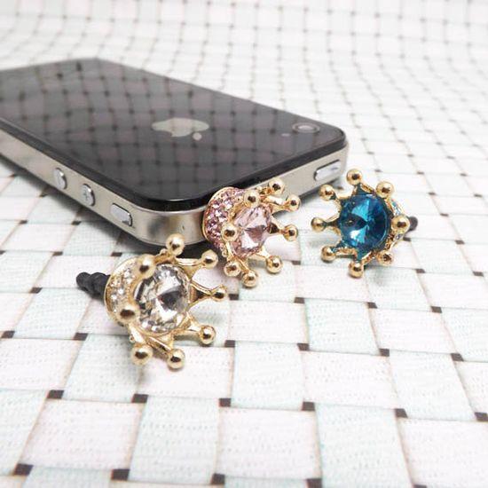 Bling 3 Colors Crystal Golden Crown Crystal Dust Plug - 3.5mm Smart Phone Headphone Cap Jack Dustproof Plug Charm iPhone 4 4S 5 HTC Samsung on Etsy, $3.98