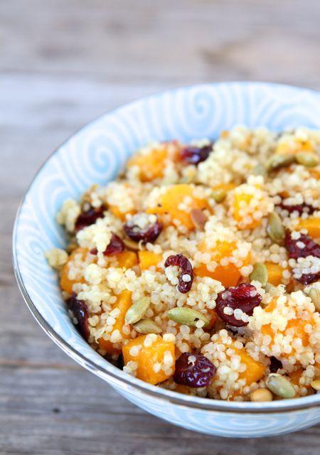 Quinoa Salad with Butternut Squash, Dried Cranberries & Pepitas from www.twopeasandthe... #recipe #glutenfree #quinoa #salad