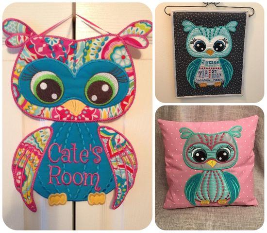 Owl Large Applique Machine Embroidery Design