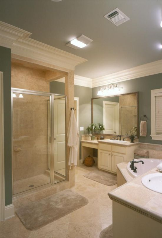 love the two separate vanity areas and nice sized shower...even like the green color.  Would probably do a little more fancier tile in the shower area.