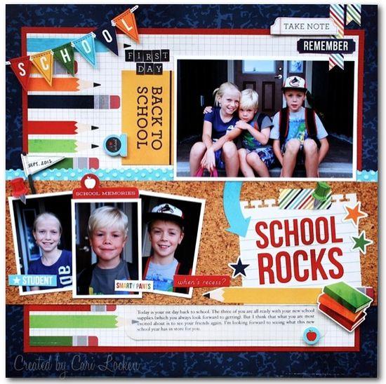 #papercraft #scrapbook #layout School Rocks - Scrapbook.com
