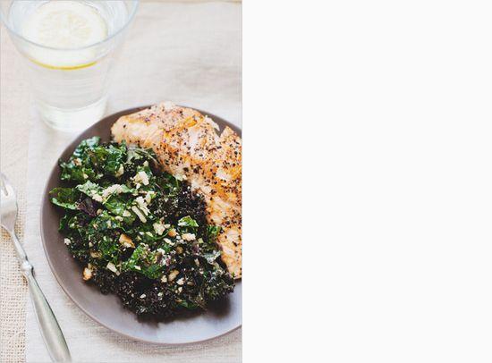 Lemon kale salad + seared salmon